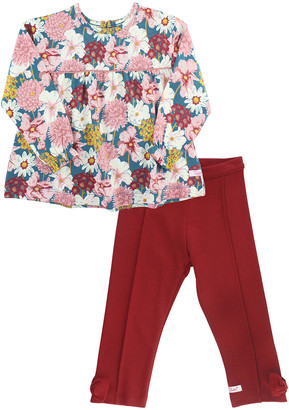 RuffleButts Girl's Floral-Print Top w/ Solid Ponte Pants, Size 0-4T