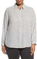 Foxcroft Plus Size Women's Dot Print Long Sleeve Blouse