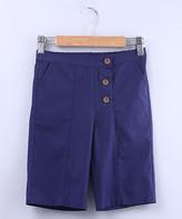 Beebay Girls' Capris Navy - Navy Bermuda Shorts - Newborn, Infant, Toddler & Girls