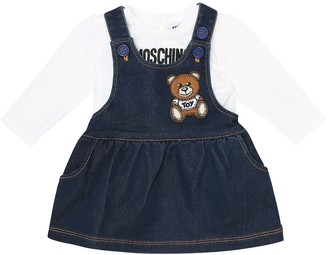 MOSCHINO BAMBINO Baby denim and jersey dress