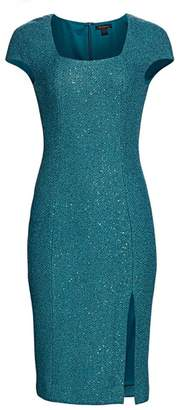 St. John Sequin Cap-Sleeve Sheath Dress