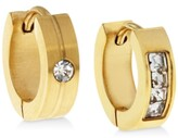 Thumbnail for your product : Sutton by Rhona Sutton Men's Gold-Tone Stainless Steel & Cubic Zirconia Mismatch Small Hoop Earrings s
