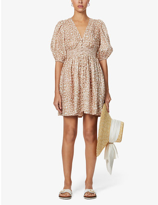 Zimmermann Carnaby leopard-print linen mini dress