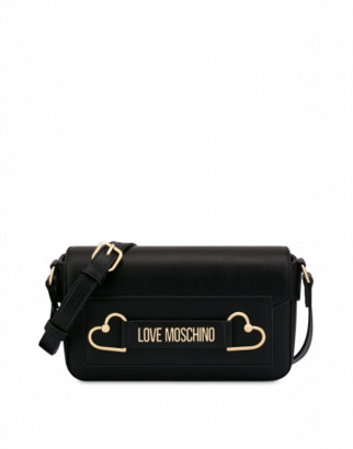Love Moschino Shoulder Bag Metal Hearts Woman Black Size U It - (one Size Us)
