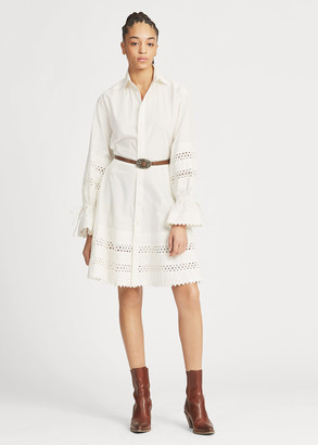 Ralph Lauren Lace-Trim Broadcloth Dress