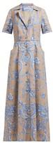 Marta Ferri - Floral-print Pleated Linen Maxi Dress - Womens - Blue Multi