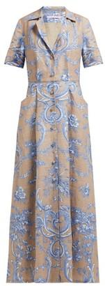 Marta Ferri - Floral-print Pleated Linen Maxi Dress - Blue Multi