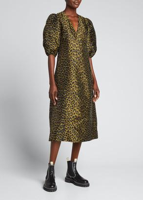 Ganni Leopard Print Crispy Jacquard Puff-Sleeve Midi Dress