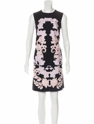 Dolce & Gabbana Lace Floral Knee-Length Dress w/ Tags Black