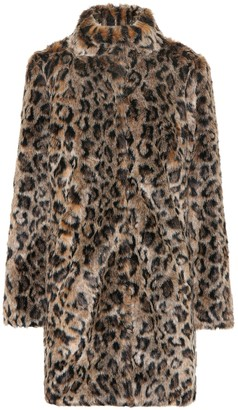 Velvet Chrissie leopard faux fur coat