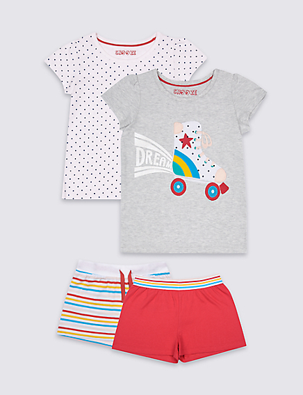 Marks and Spencer 2 Pack Pure Cotton Short Pyjamas (9 Months - 8 Years)