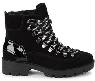 KENDALL + KYLIE Eon Suede Patent Leather Combat Boots