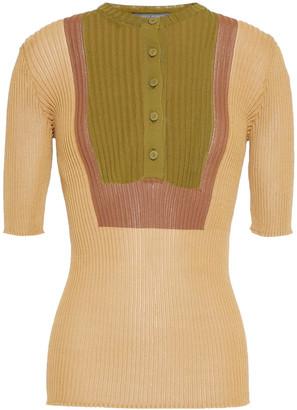 Alberta Ferretti Color-block Ribbed-knit Top