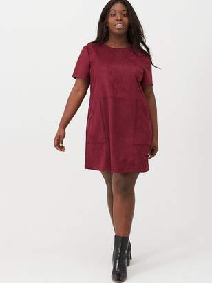 V By Very Curve Suede Tunic Dress - Oxblood