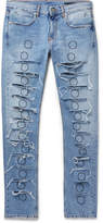 1017 Alyx 9sm Skinny-Fit Distressed Embroidered Denim Jeans