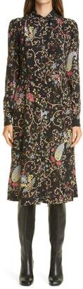 Etro Floral Paisley Long Sleeve Silk Shirtdress