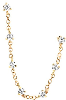 Ef Collection 14K Yellow Gold & Diamond Prong-Set Double Chain Stud Single Earring