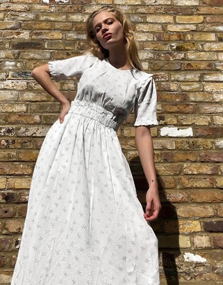 And other stories & floral print frill hem midi dress in white