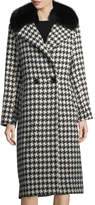 Sofia Cashmere Houndstooth Double-Breasted Alpaca-Wool Coat w/ Fur Trim