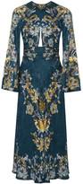 Roberto Cavalli Embellished Satin-jacquard Midi Dress - Petrol