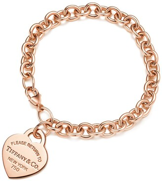 Tiffany & Co. Return to TiffanyTM medium heart tag in 18k rose gold on bracelet, medium