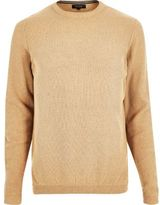 River Island MensCamel textured sweater