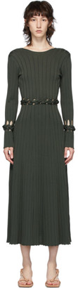 Dion Lee Green Ribbed Braided Long Dress