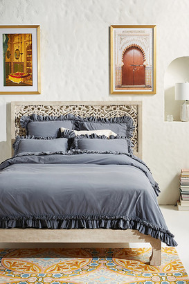 Anthropologie Washed Percale Adina Duvet Cover By in Grey Size Q top/bed