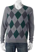Croft & Barrow Big & Tall Classic-Fit Argyle 12GG V-Neck Sweater