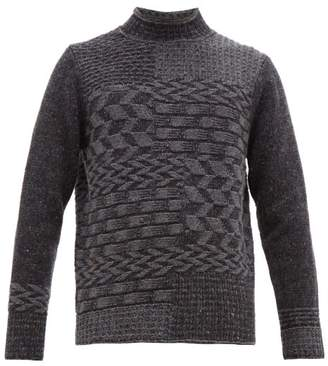 Inis Meáin Merino Wool And Cashmere Blend Multi Knit Sweater - Mens - Grey