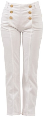 Balmain Button Detail High Waist Jeans
