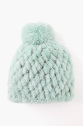 Pologeorgis Dusty Pink Knitted Mink Hat with Fox Pom Pom