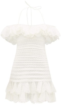 Zimmermann Super Eight Off-shoulder Swiss-dot Cotton Dress - Ivory