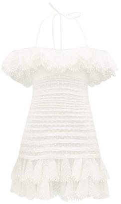Zimmermann Super Eight Off-shoulder Swiss-dot Cotton Dress - Womens - Ivory