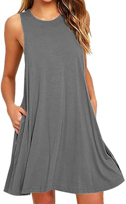 YMING Women's Dress Sleeveless T-Shirt Dress Round Neck Casual Summer Dress Bordeau S