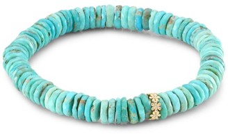 Sydney Evan Arizona Turquoise, 14K Yellow Gold & Diamond Flower Spacer Beaded Bracelet