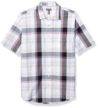 Van Heusen Men's Big & Tall Big and Tall Air Seersucker Short Sleeve Button Down Poly Rayon Plaid Shirt