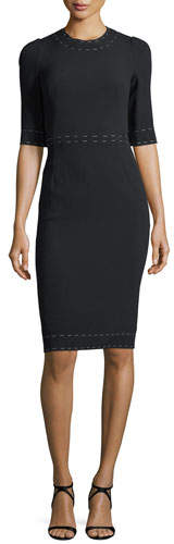 Dolce & Gabbana 1/2-Sleeve Fitted Cady Cocktail Dress