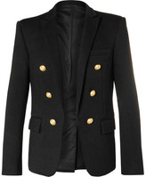 Balmain Black Double-breasted Wool-jersey Blazer - Black