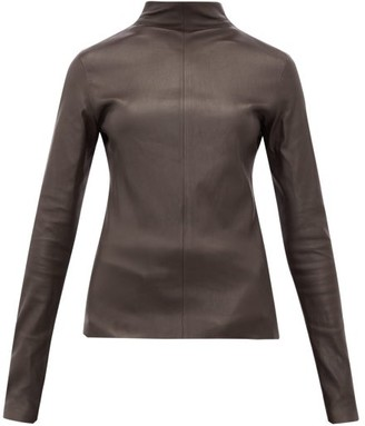 Bottega Veneta High-neck Leather Top - Dark Brown
