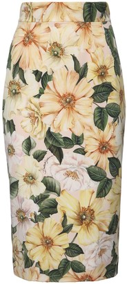 Dolce & Gabbana Camelia Print Stretch Silk Pencil Skirt