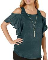Amy Byer A. Byer Junior's Cold Shoulder Ruffle Sleeve Top with Necklace