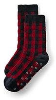 Classic Boys Holiday Slipper Socks-Rich Red/Lunar Navy Check
