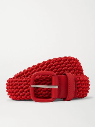 Charvet 3cm Orange Leather-Trimmed Woven Belt - Men - Red