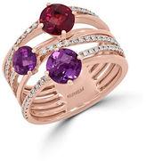 Effy Amethyst, Rhodolite, Diamond and 14K Rose Gold Ring