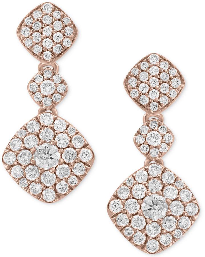 Effy Pave Rose by Diamond Drop Earrings (1-1/4 ct. t.w.) in 14k Rose Gold