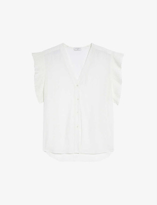 Sandro Oren ruffle-trimmed silk shirt