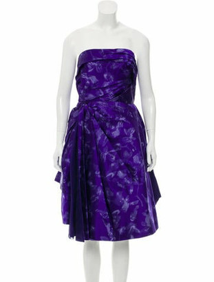 Oscar de la Renta Strapless Silk Dress w/ Tags Violet
