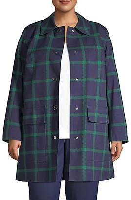 Lafayette 148 New York, Plus Size McKinleigh Plaid Coat
