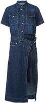 Sacai denim pleated panel shirt dress